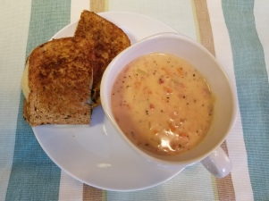 Tomato Basil Soup and Grilled Cheese